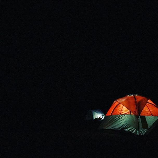 Tents in the darkness. #canoecamping #camping #tent #coleman