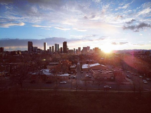Downtown Denver Sunset. Taken from Five Points with a @djiglobal Mavic Air #drone #mavicair #denver #sunset #skyline