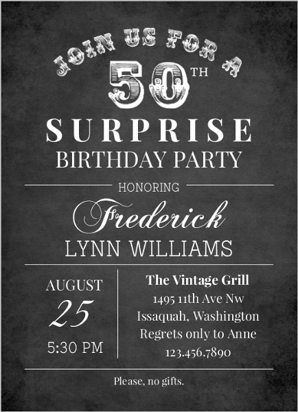 Invitations For 50th Surprise Birthday Party