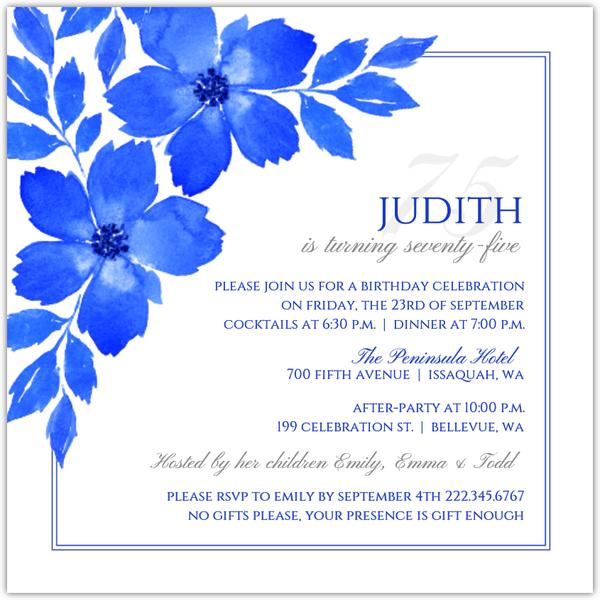 royal blue formal 75th birthday party invitation
