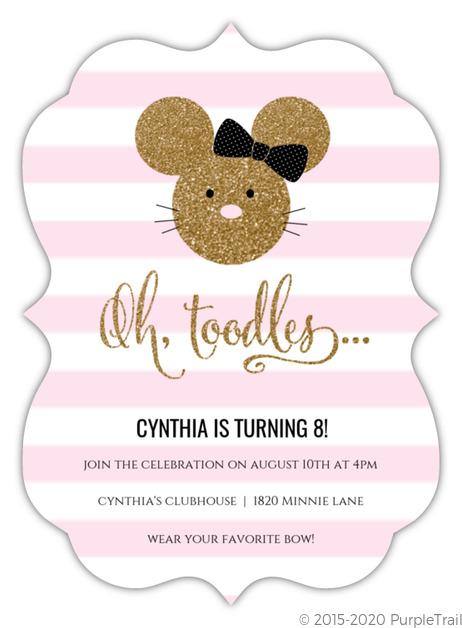 Glamorous Glitter Minnie Mouse Birthday Invitation Mouse Birthday Invitations