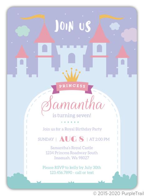 whimsical princess castle birthday invitation