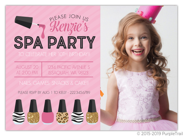 faux glitter pink prints spa birthday invitation