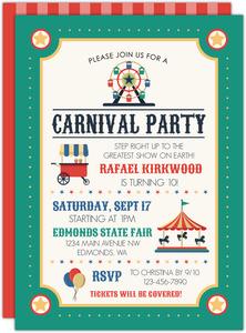 carnival birthday invitations purpletrail
