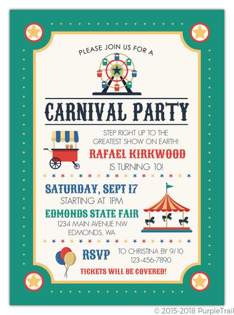colorful ferris wheel carnival kids birthday invitation