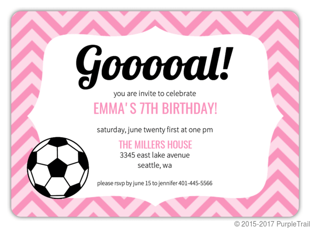 pink pattern girls soccer party invitation