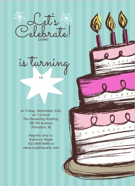 Invitation birthday party sweet seventeen inviview hand drawn cake sweet 16 birthday party invite teen stopboris Image collections