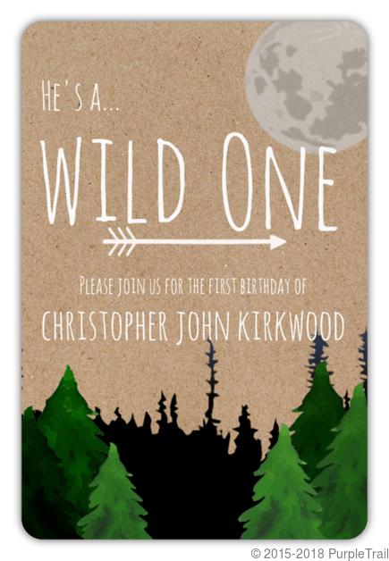 kraft wild one first birthday invitation