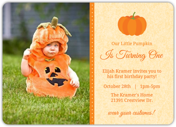 our little pumpkin halloween birthday invitation
