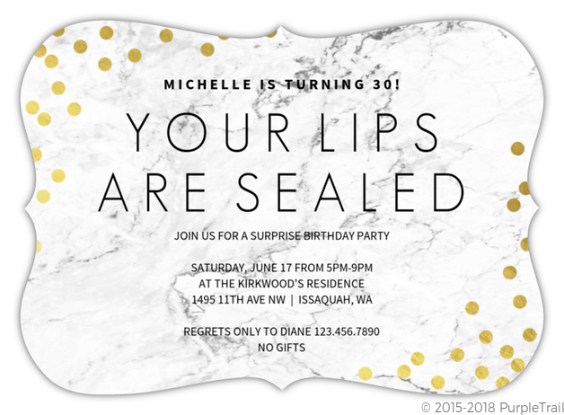 lips sealed surprise 30th birthday invitation