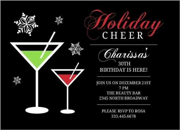 Holiday Cheer Martini 30Th Birthday Party Invite 30th