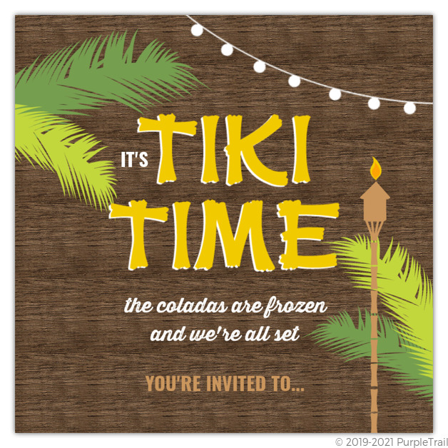 Woodgrain Tiki Hut Luau Printable Summer Party Invitation