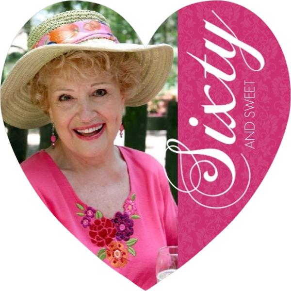 bright pink photo 60th birthday invitation