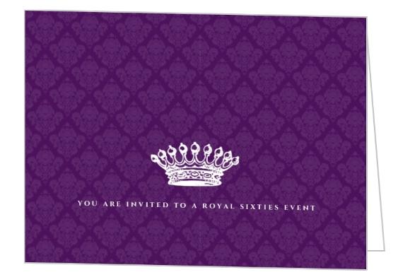 royal crown purple 60th birthday invitation