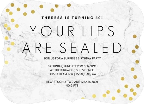 Lips Sealed Surprise 70th Birthday Invitation Surprise Birthday Invitations