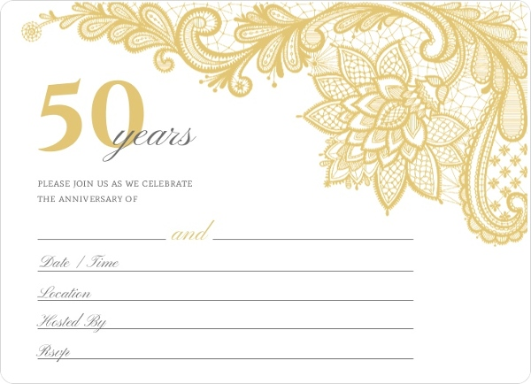 elegant lace golden anniversary fill in the blank invitation