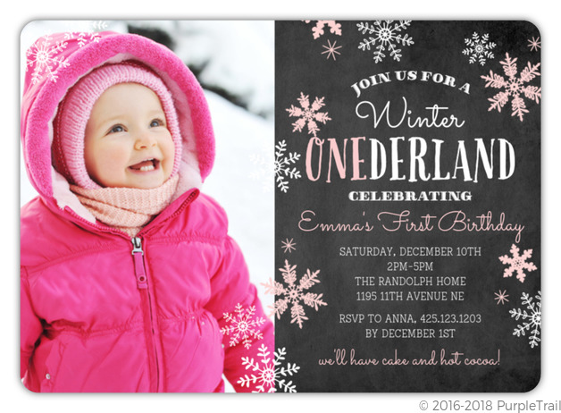 Pink Falling Snowflakes Winter Onederland Birthday Party Invitation First Birthday Invitations