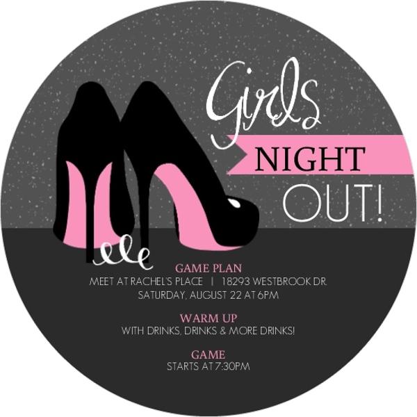 Pink High Heels Girls Night Out Invitation Girls Night
