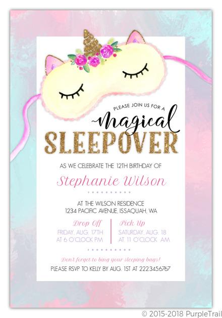 cute watercolor unicorn mask slumber party invitation