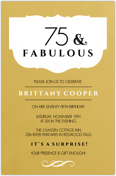 fabulous gold 75th birthday invitation