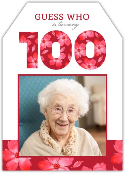 elegant pink floral 100th birthday invitation