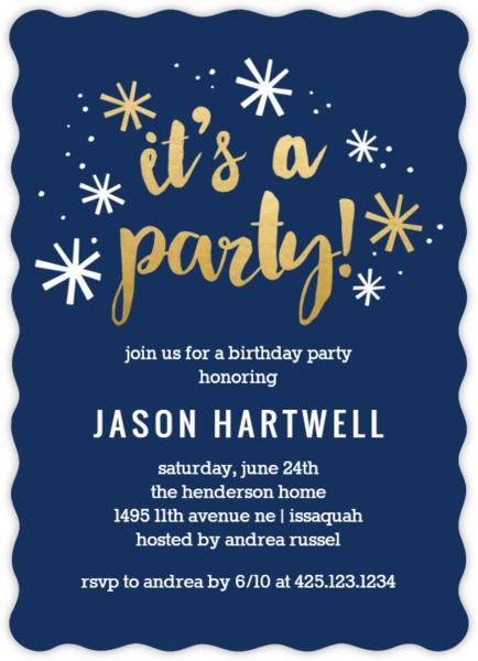 navy and gold confetti birthday party invitation