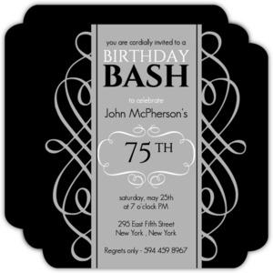 75th birthday invitations custom