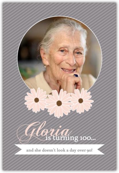 gray striped floral photo 100th birthday invitation