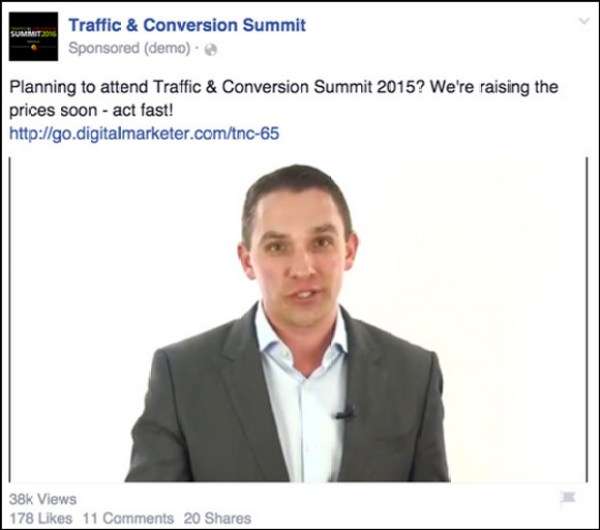 Retargeting video ad for Traffic & Conversion Summit