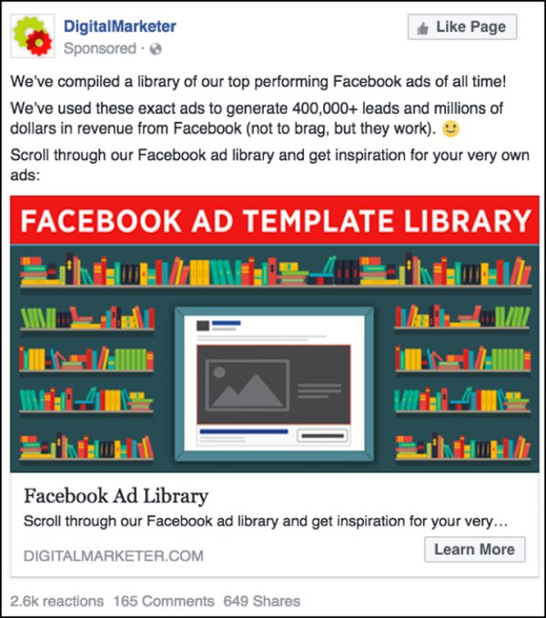 DigitalMarketer Facebook ad for our Facebook Ad Template