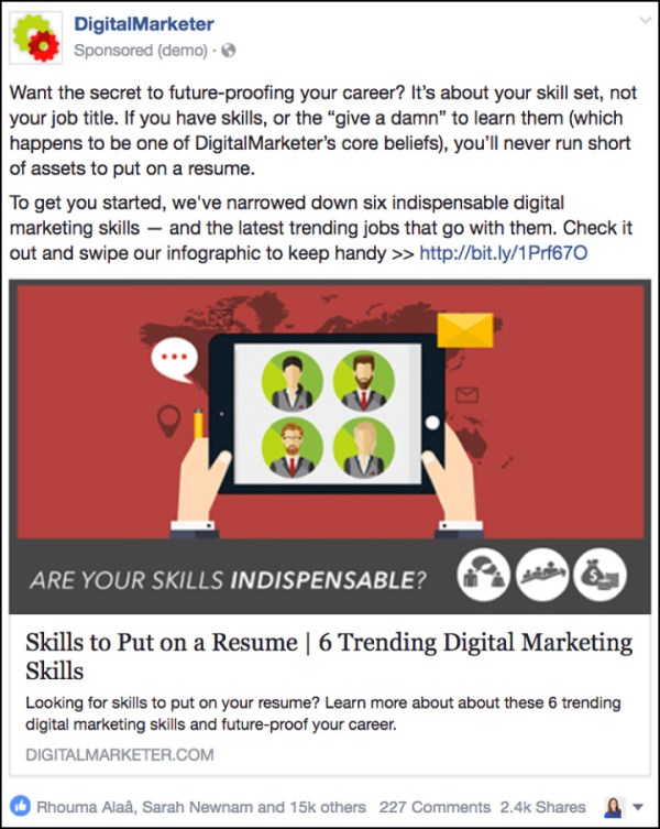 """Boosting a post for """"Digital Marketing Skills to Put on a Resume"""" blog post from DigitalMarketer"""