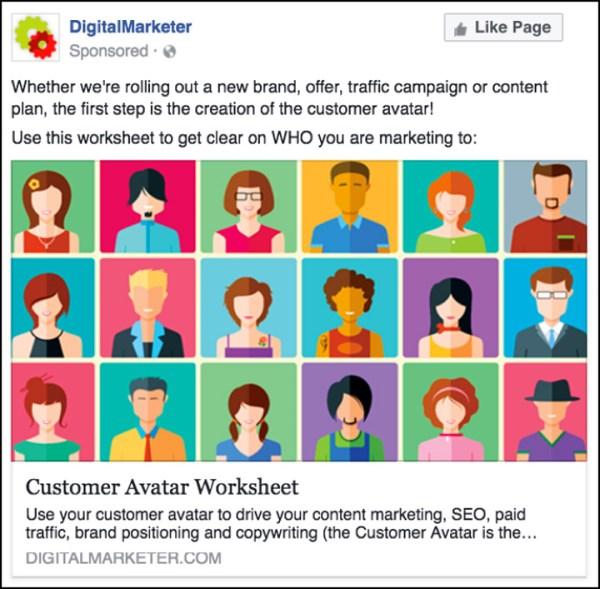 DigitalMarketer Facebook ad for the Customer Avatar Worksheet