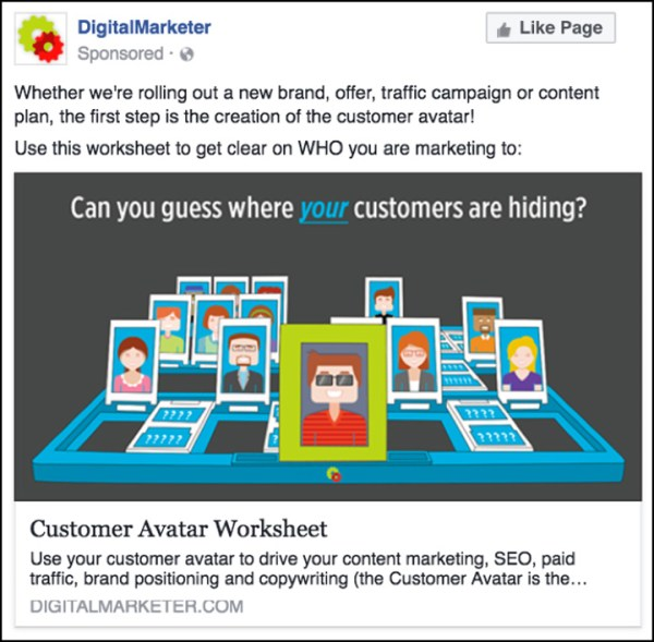DigitalMarketer Facebook ad inspired by Guess Who? game