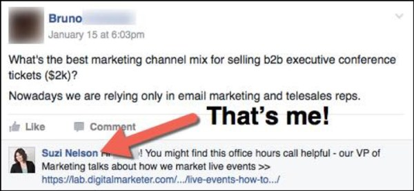 Suzi Nelson answering a member in DigitalMarketer's private Facebook group, DM Engage