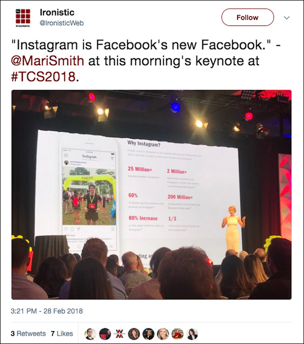 """""""Instagram is Facebook's new Facebook."""" ~Mari Smith from her Day 3 opening keynote at Traffic & Conversion Summit 2018"""
