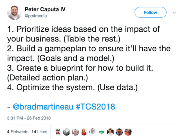 Tweet from Traffic & Conversion Summit 2018 attendee on business growth ideas
