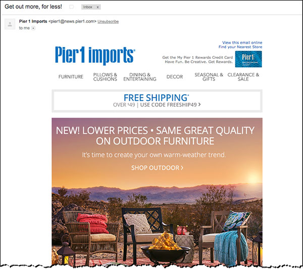 An example of a broadcast email announcing a Pier 1 promotion