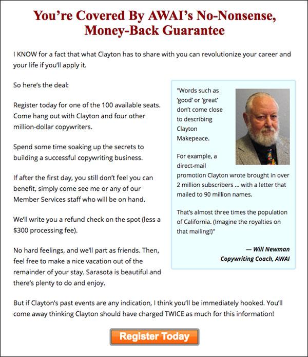 AWAI money-back guarantee for an event