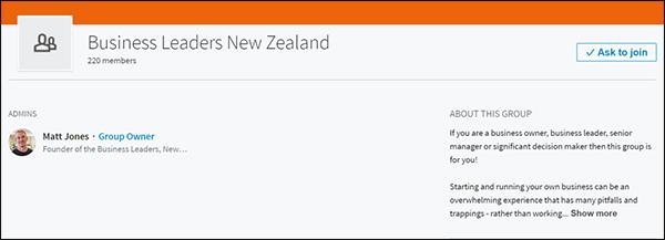 LinkedIn group for Business Leaders New Zealand created by Matt Jones