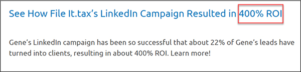 Case study about how It.tax's LinkedIn Campaign Resulted in 400% ROI