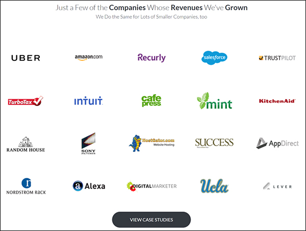 """spread of company logos with button at bottom that says """"view case studies"""""""