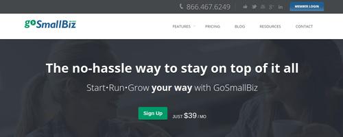 Go Small Biz webpage screenshot