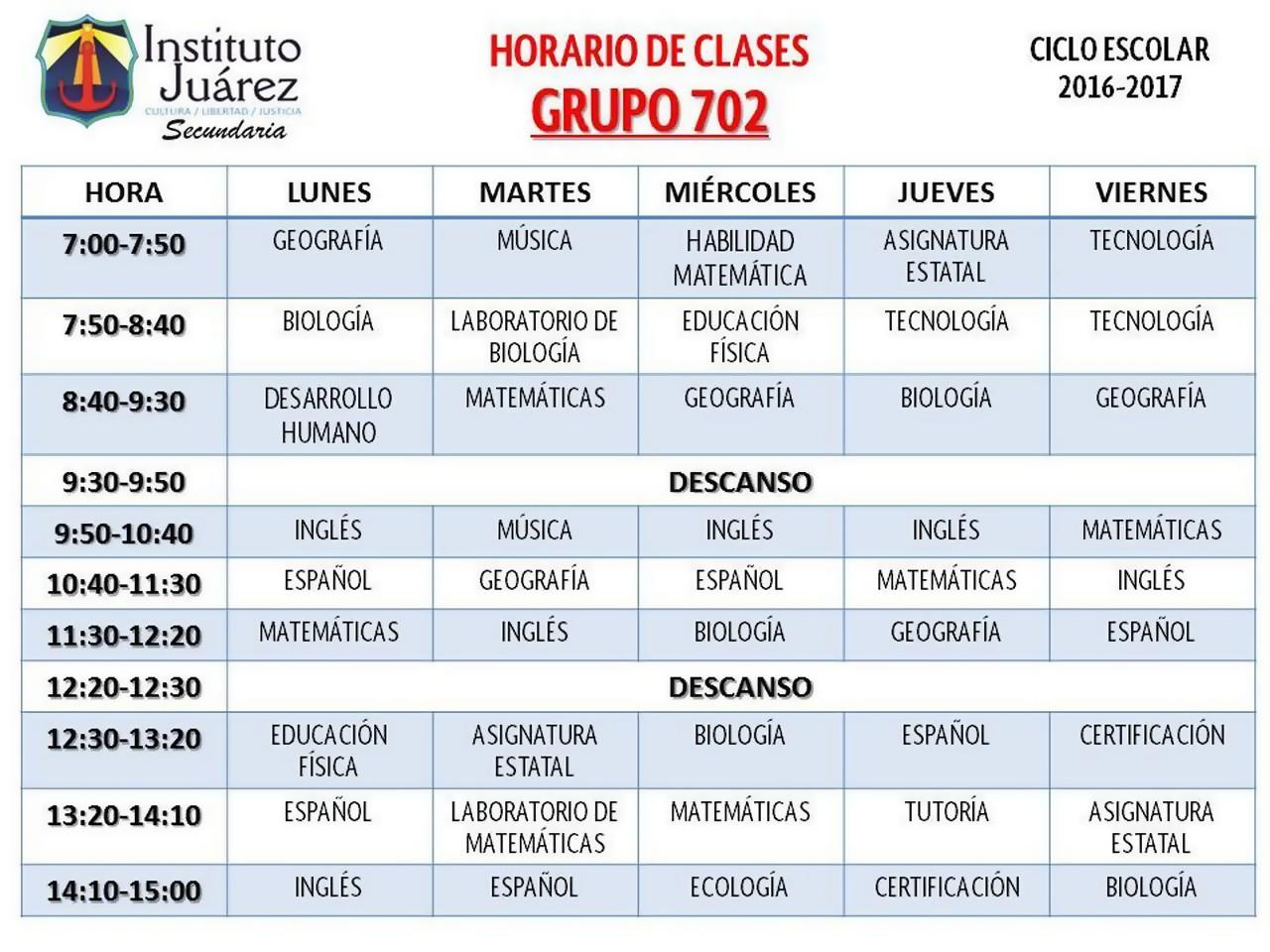 Spanish 1 El Horario Escolar