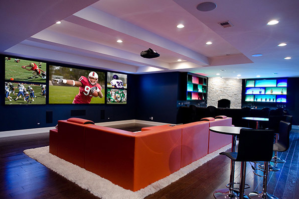 ceiling lights add a splash of color in this home theater electronic house