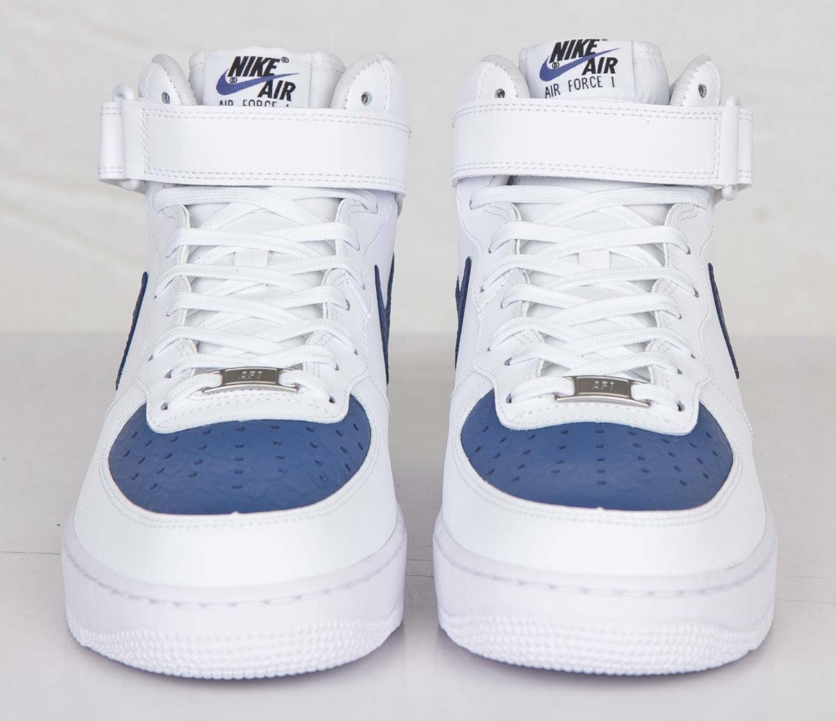 Nike Air Force 1 Mid Blanc Bleu Légendaire vente explorer magasin en ligne commercialisable libre choix d'expédition Ne8m79u3