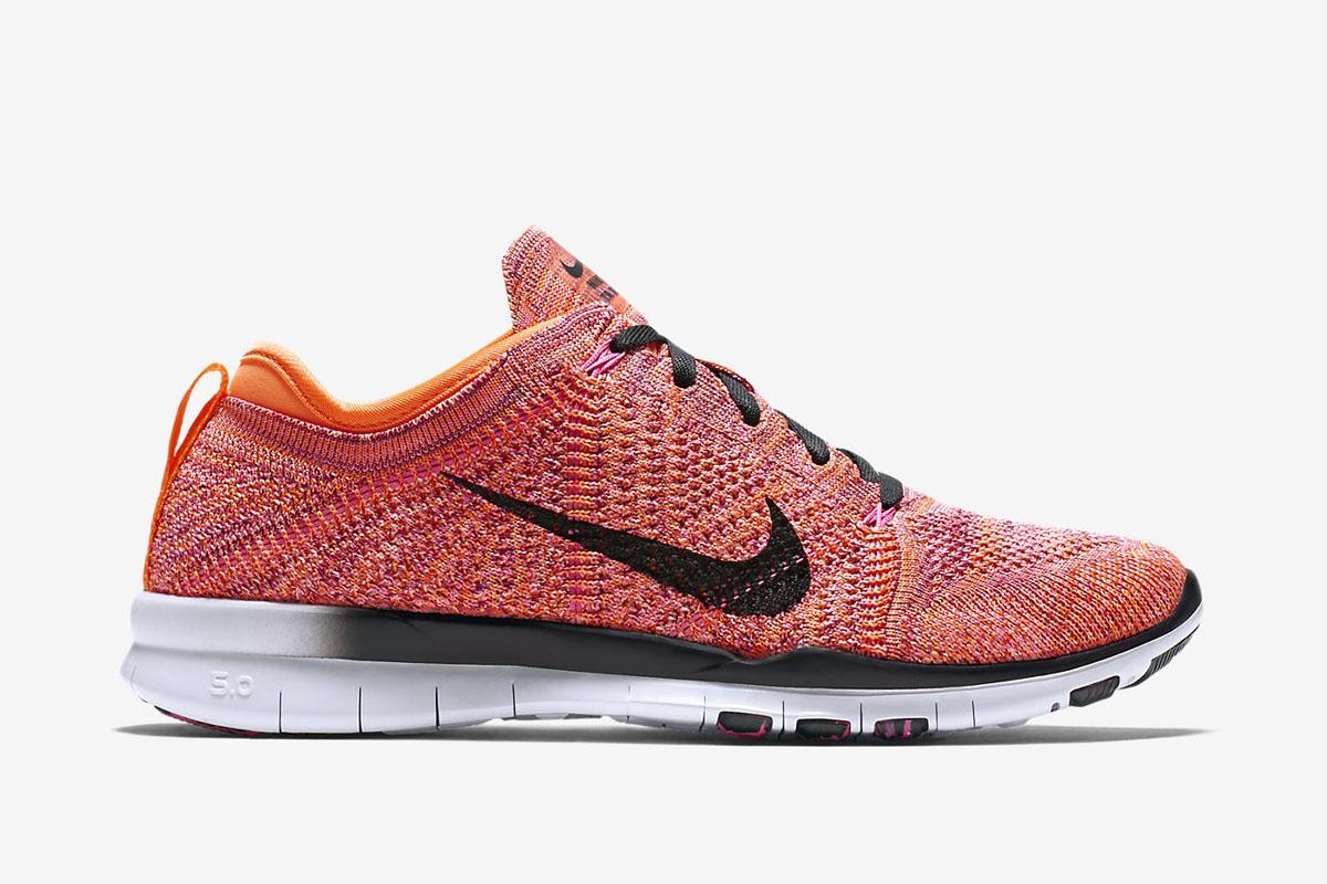 Discount Women Nike Free Tr 5 Flyknit 718785-600 Bright Crimson Bright Citrus Total Orange White For Sale