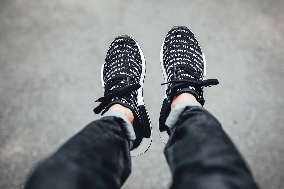 """On-Foot: adidas NMD R1 """"Brand With The Three Stripes"""" (Core Black)"""