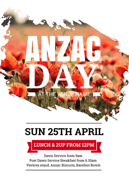 Anzac Day Template With Image Mask Over Poppies Easil