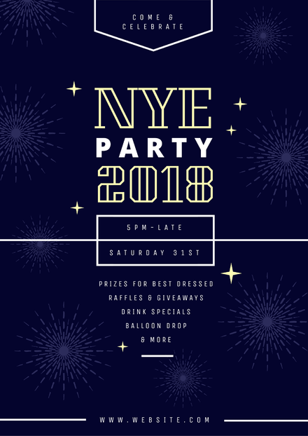 Navy Blue New Years Eve Party Poster with Fireworks Graphics