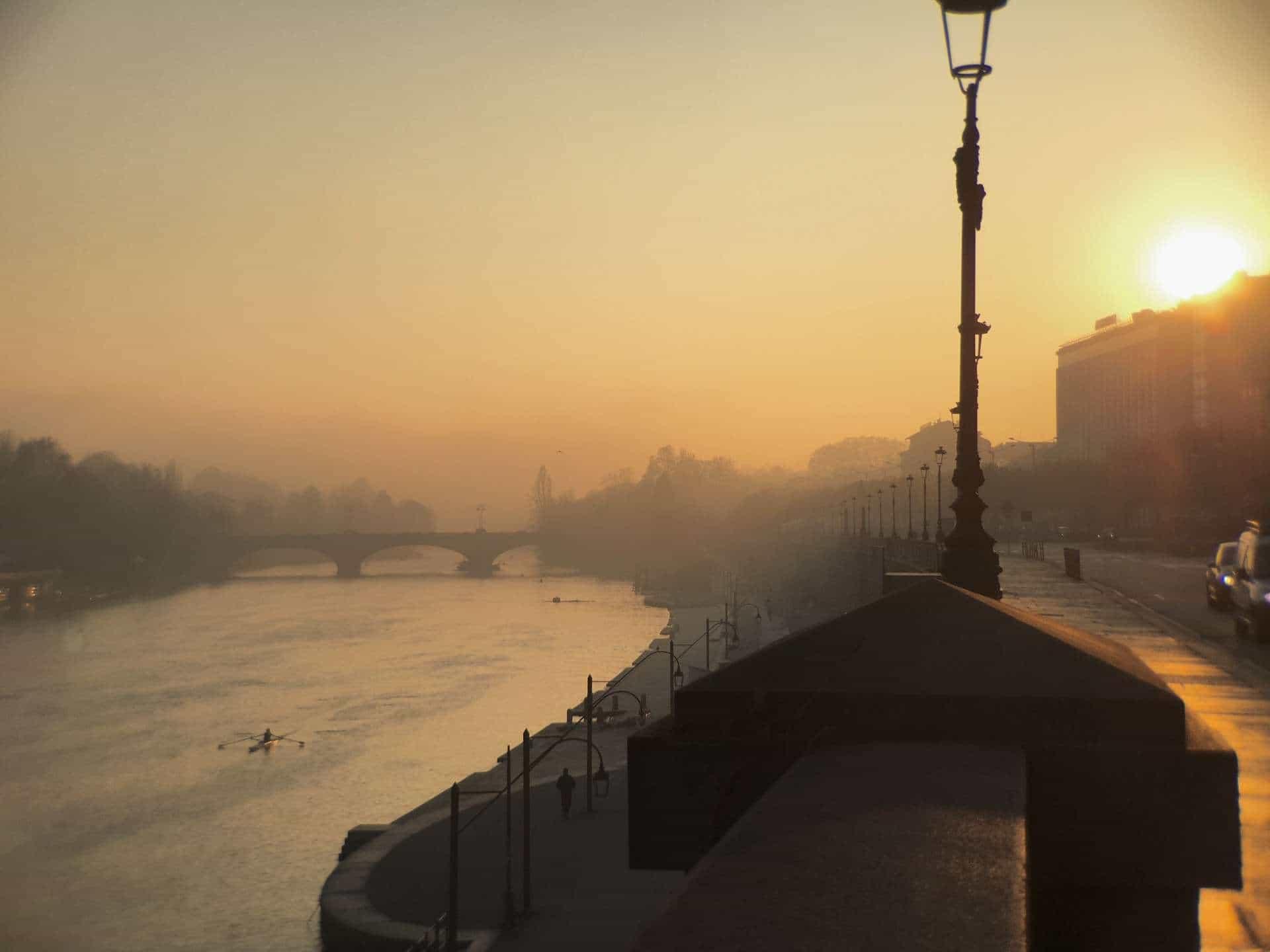 Turin Italy: River Po sunset